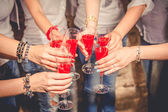 Girls celebrate a bachelorette party of bride. — Stock Photo