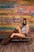 Model posing in country style. — Stock Photo