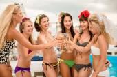 Happy girls on the beach — Stock Photo