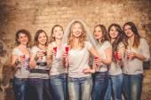 Girls celebrate a bachelorette party of bride. — Stock Photo