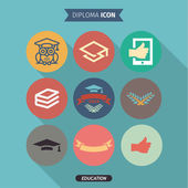 Icons of education and intelligence in Flat Style, logo, vector illustration — Stock Vector