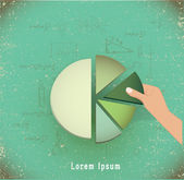 Hand putting the last piece of a pie chart — Stock vektor