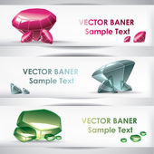 Set of the crystal banners — Stock Vector