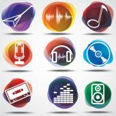 Set of the music symbols — Stock Vector