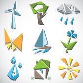 Eco icons in cubism style — Stock Vector