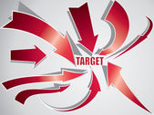 Red arrows with target text — Stock Vector