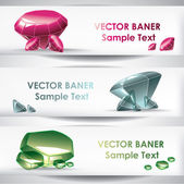 Set of the crystal banners. — Stock Vector