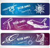 Hand-drawn space banners — Stock Vector
