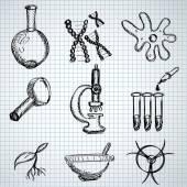 Biology hand drown symbols — Stock Vector