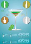 Martini cocktail infographic — Stock Vector
