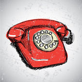 Vintage red telephone — Stock Vector