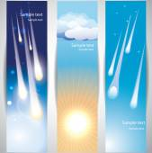 Banners with comet and sun — Stock Vector