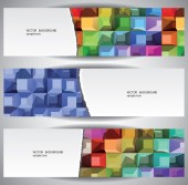 Boxes Abstract Web Banners — Stock Vector