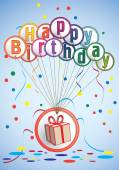 Birthday card with gift — Stock Vector