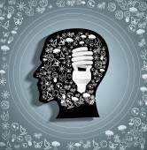 Eco symbols in the head — Stock Vector