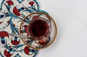 Turkish glass of tea — Stock Photo