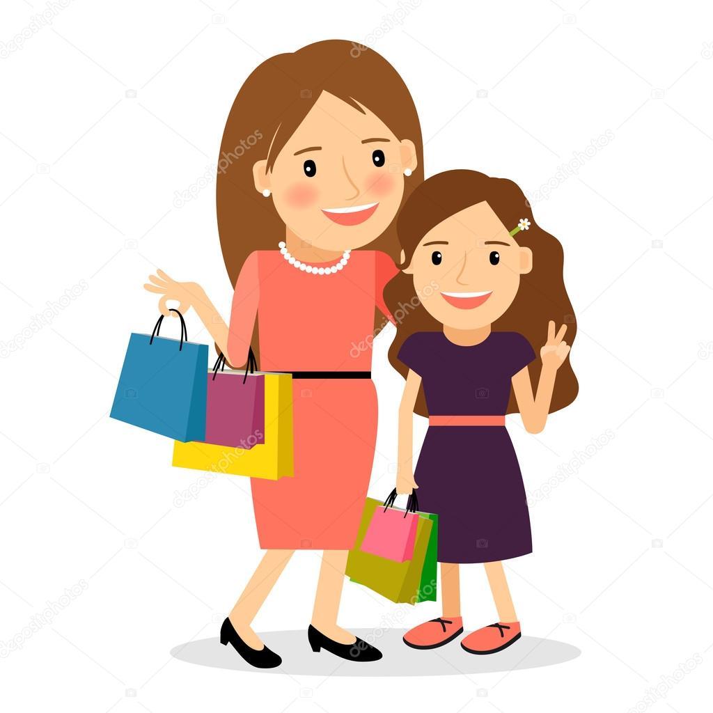 Mère et fille journée shopping — Image vectorielle #104522244