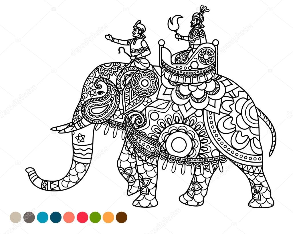 coloriage anti stress avec maharaja sur l phant image vectorielle 113112538. Black Bedroom Furniture Sets. Home Design Ideas