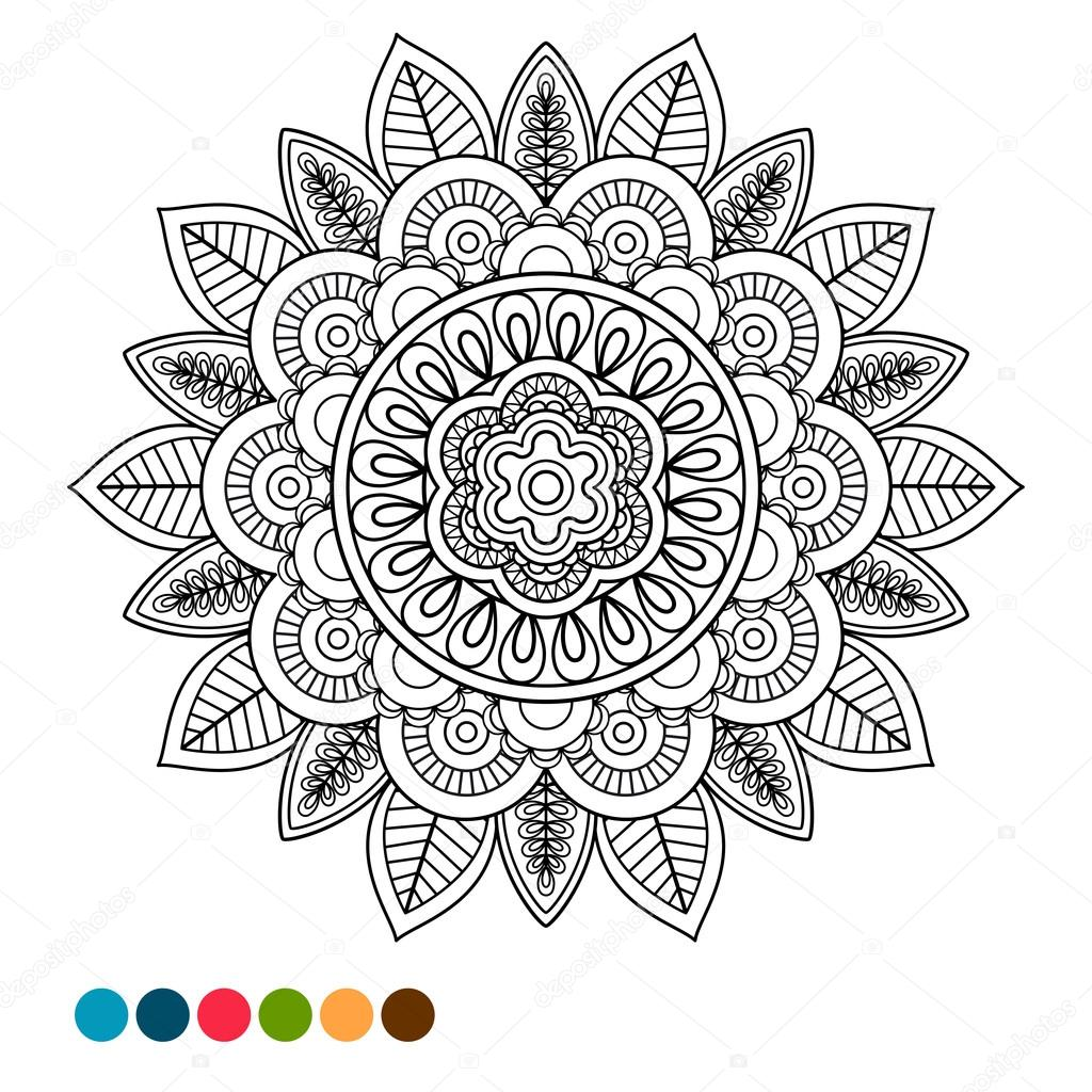 Coloriage anti stress de circle mandala ornement image vectorielle 113112590 - Dessin anti stress mandala ...