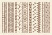 Hand drawn mehndi borders — Stock Vector