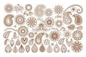 Henna tattoo doodle elements — Stock Vector