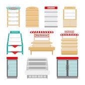 Winkel rekken of winkel vitrines — Stockvector