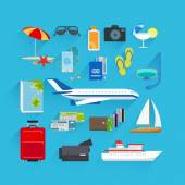Travel flat icons — Stock Vector