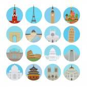 World landmarks icons — Stock Vector