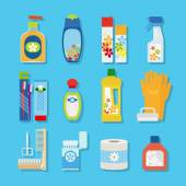 Hygiene and cleaning products flat icons — Wektor stockowy