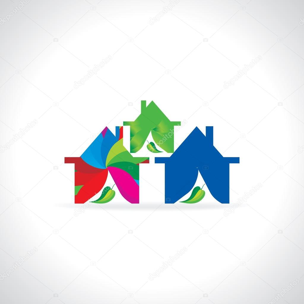 多彩的房子矢量图 — 图库矢量图片#78405016