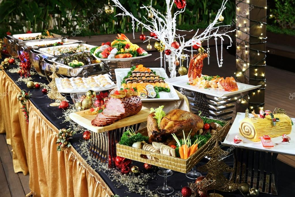 Delightful Christmas Buffet With Roasted Chicken Beef