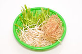 Basket of Vietnamese herbs on a white background — Stock Photo