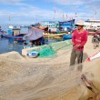 Quang Ngai, Vietnam - July 31, 2012: Fishermen are removing anchovies fish from their nets to start a new working day in Ly Son island — Stock Photo #76650477