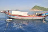 Nha Trang, Vietnam - May 4, 2012: Fishing boats are preparing to trawl in the sea of Nha Trang bay in Vietnam — Stock Photo