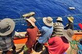 Nha Trang, Vietnam - May 5, 2012: Fishermen are catching tuna with a trawl net. — Stock Photo