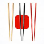 Red and black wooden chopsticks — Stock Vector