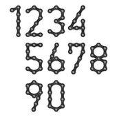 Bicycle chain numbers — Stock vektor