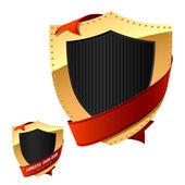 Metal shield on white — ストックベクタ