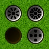 Set of golf holes — Stock Vector