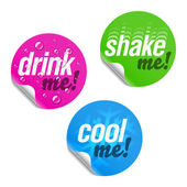 Drink me, shake me and cool me stickers — Stock Vector