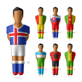 Football players in national flags uniform — Stock Vector