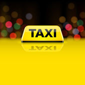 Yellow taxi car roof sign at night — Stock Vector