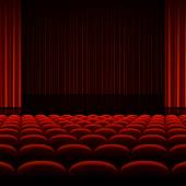 Theater interior with red curtains and seats — Stockvector