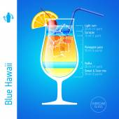 Blue Hawaii cocktail ingredients — Stock Vector