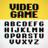 Video game pixel font with distortion — Stock Vector