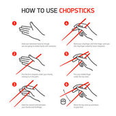 How to use chopsticks guidance — Stock Vector