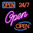 Set of glowing neon OPEN signs — Stock Vector #69942203