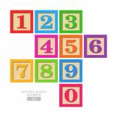 Wooden blocks - numbers — Vetor de Stock