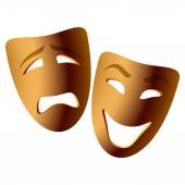 Wooden comedy and tragedy theatrical masks — Stock Vector