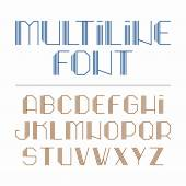 Multiline font, alphabet — Stock Vector